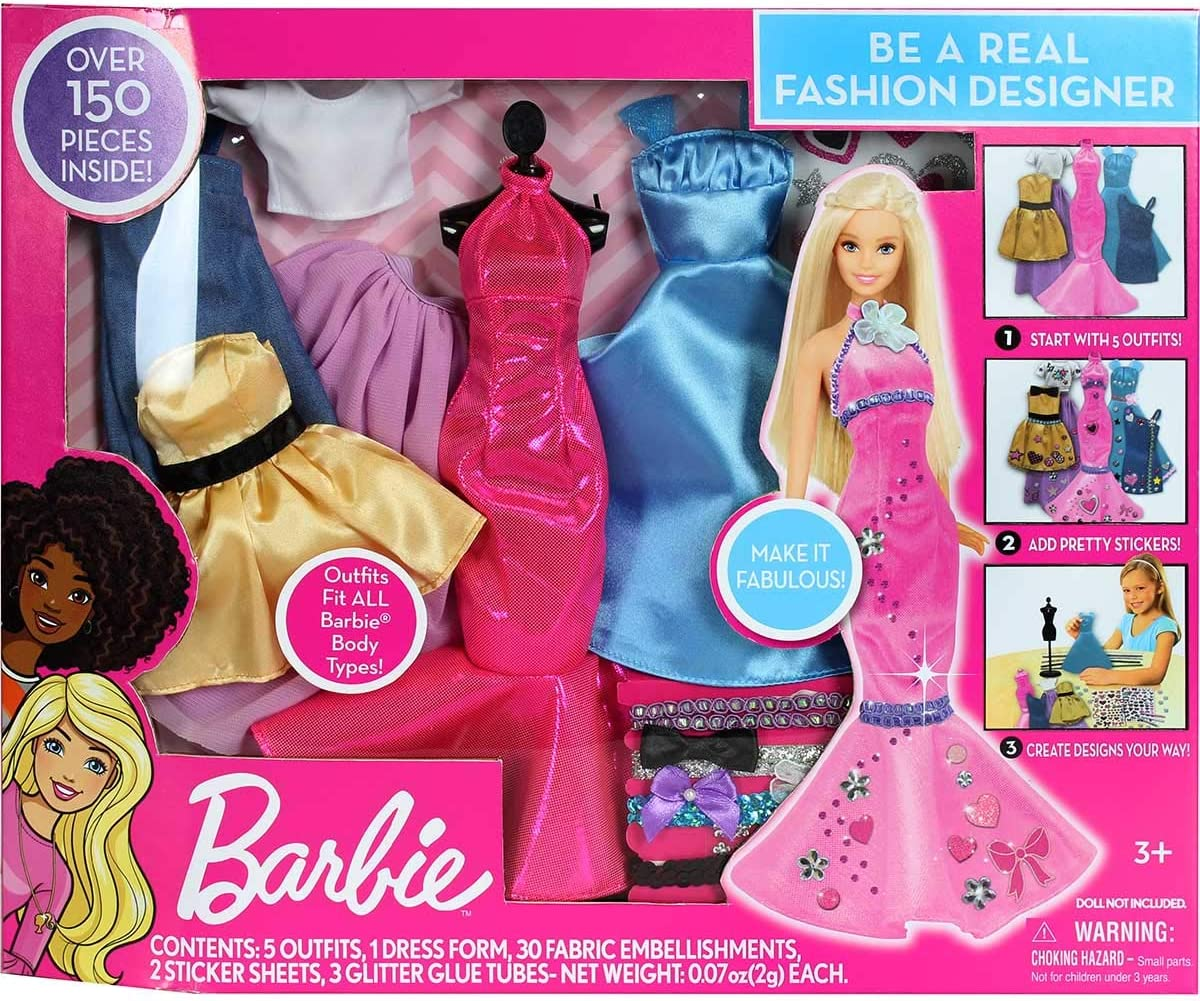 Amazon Com Barbie Be A Fashion Designer Doll Dress Up Kit Toys Games