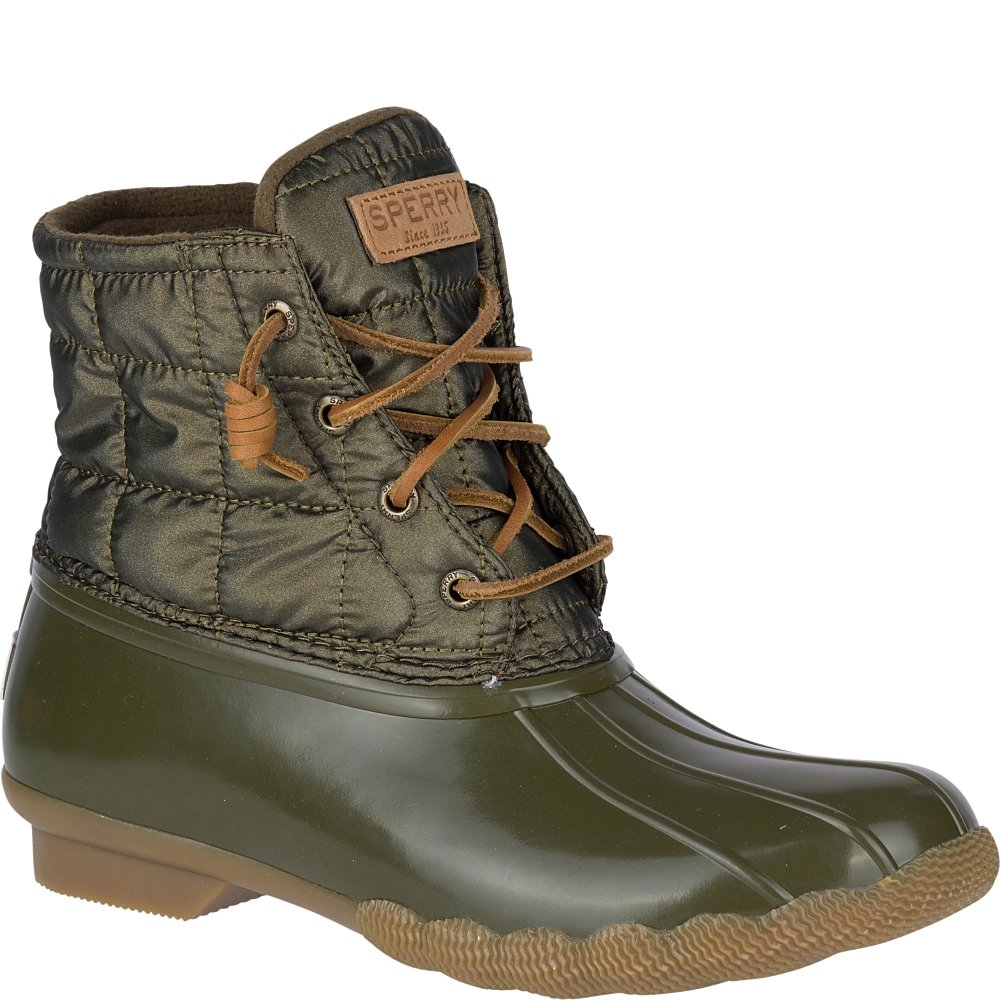 Sperry Top-Sider Women's Saltwater Shiny Quilted Rain Boot B075B1LMM3 5 B(M) US|Olive