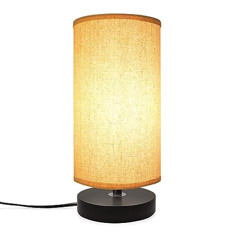 LED Lampara Mesa Escritorio, WULAU Lámpara de mesa de madera ...