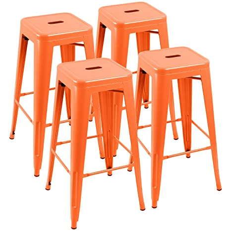 Incredible Furniwell 30 Inches Metal Bar Stools High Backless Tolix Indoor Outdoor Stackable Barstool With Square Counter Seat Set Of 4 Orange Gmtry Best Dining Table And Chair Ideas Images Gmtryco