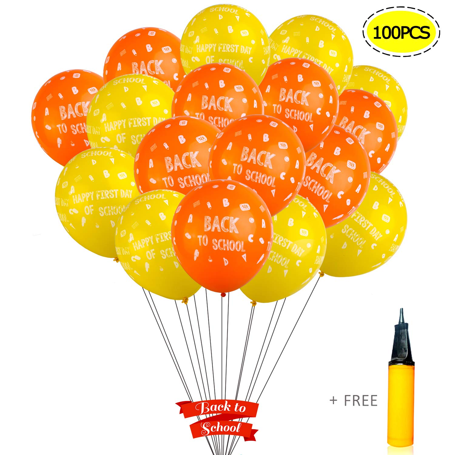WANTU Back to School Decorations - 100 PCS 12 Inches Latex Back to School Balloons with a Hand Air Pump for Classroom Decor, Back to School Decor