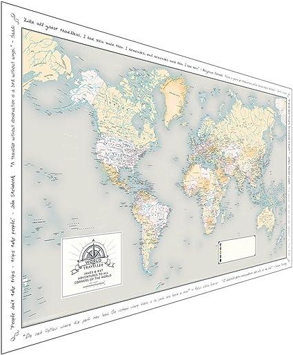 Mapa personalizado – nuevos diseños, color arena Laminated: Amazon.es: Oficina y papelería