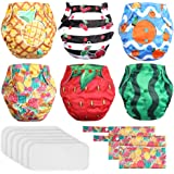 Lictin 6 Pack Baby Cloth Diapers, One Size Adjustable Washable Reusable Nappy for Baby Girls Boys, with 6 Inserts, 2…