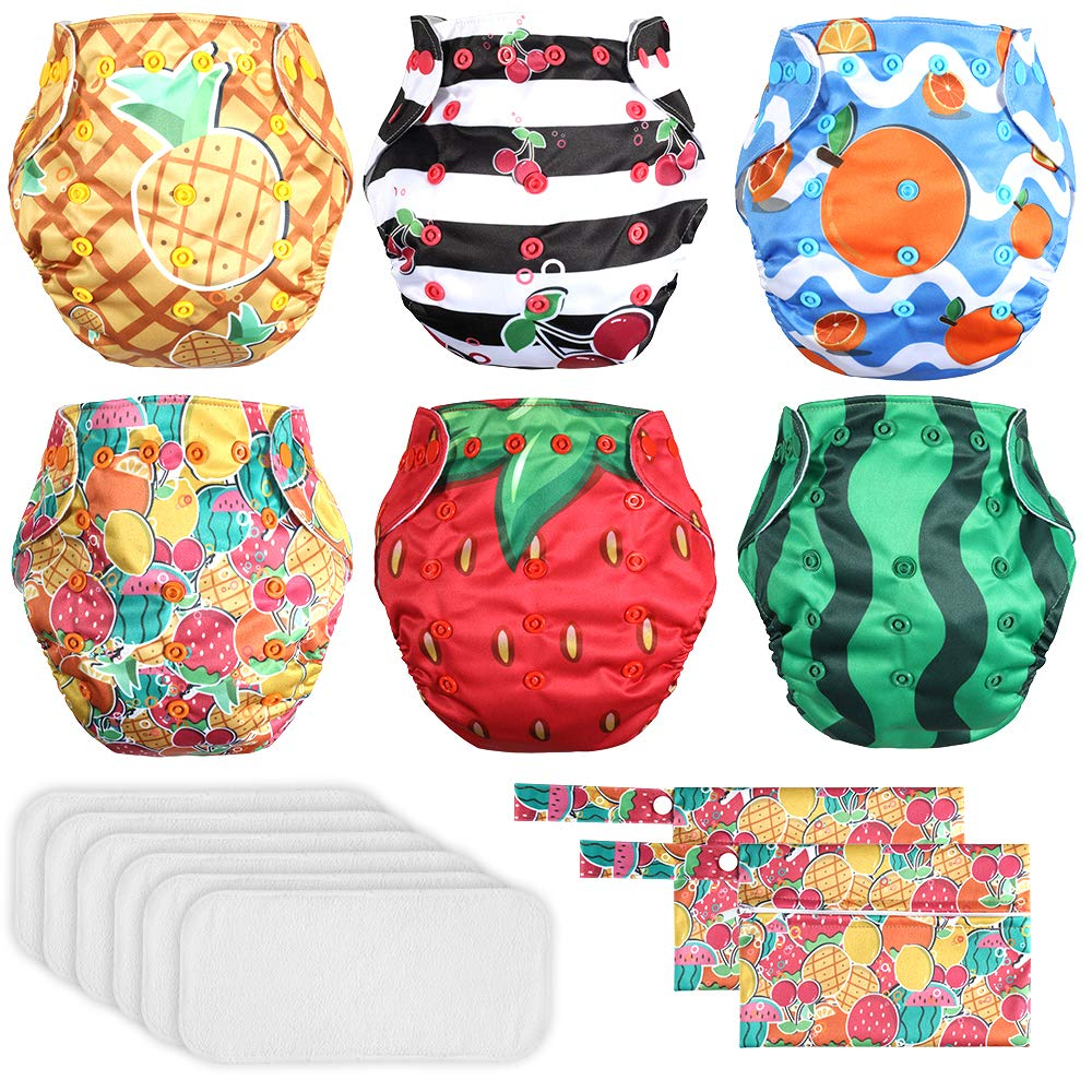 Lictin 6 Pack Baby Cloth Diapers, One Size Adjustable Washable Reusable Nappy for Baby Girls Boys, with 6 Inserts, 2 Storage Bag, Happy Fruit Design by Lictin
