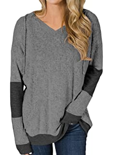 Cutiefox Womens Loose V Neck Long Sleeve Drawstring Hoodies Sweatshirt S-XXL