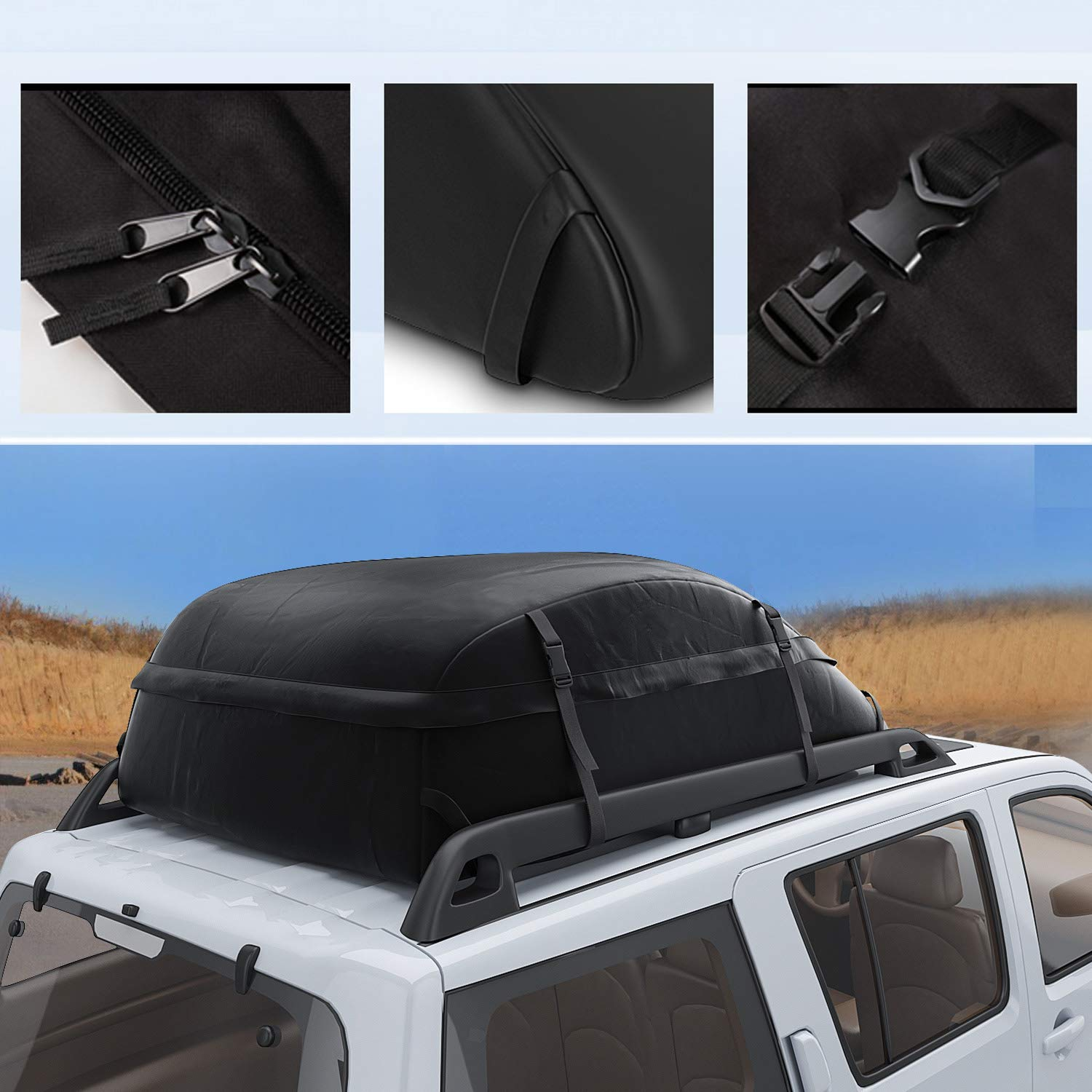 Miageek Waterproof Cross Country Car Roof Top Carrier Water Resistant Non Slip Soft Rooftop Travel Cargo Bag Storage for Any Car Van or SUV//with Straps S