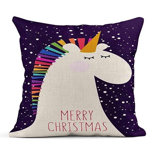 Kinhevao Cojín Rosa Animal Navidad Unicornio Bebé Hermoso ...