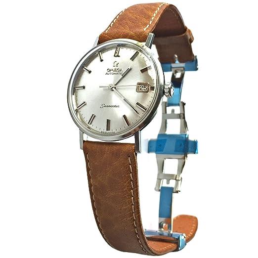 Vintage 1962 Omega Seamaster esfera de madera de reloj (plata) con piel de vacuno marrón banda: Omega: Amazon.es: Relojes