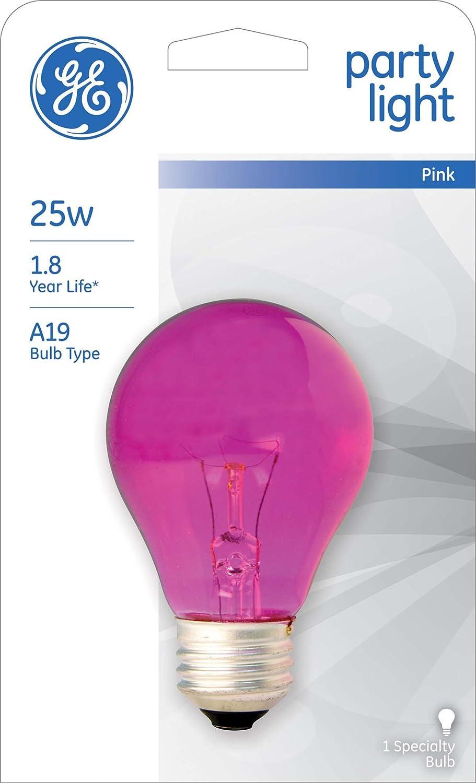 3-Pack GE Lighting 47627 25-Watt Pink A19 Light Bulb with Medium Base