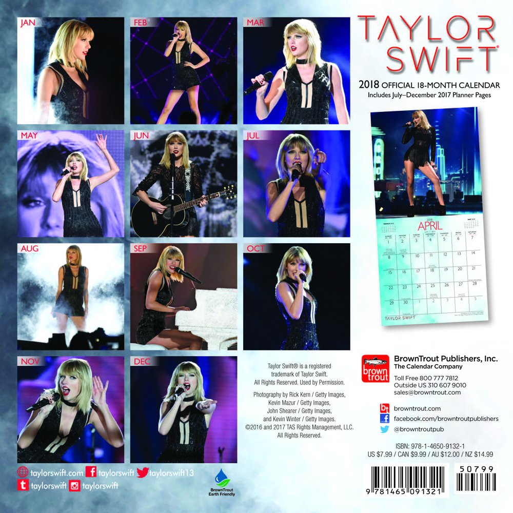 Taylor Swift 2018 7 X 7 Inch Monthly Mini Wall Calendar Music Pop Singer Songwriter Celebrity Browntrout Publishers 9781465091321 Amazon Com Books