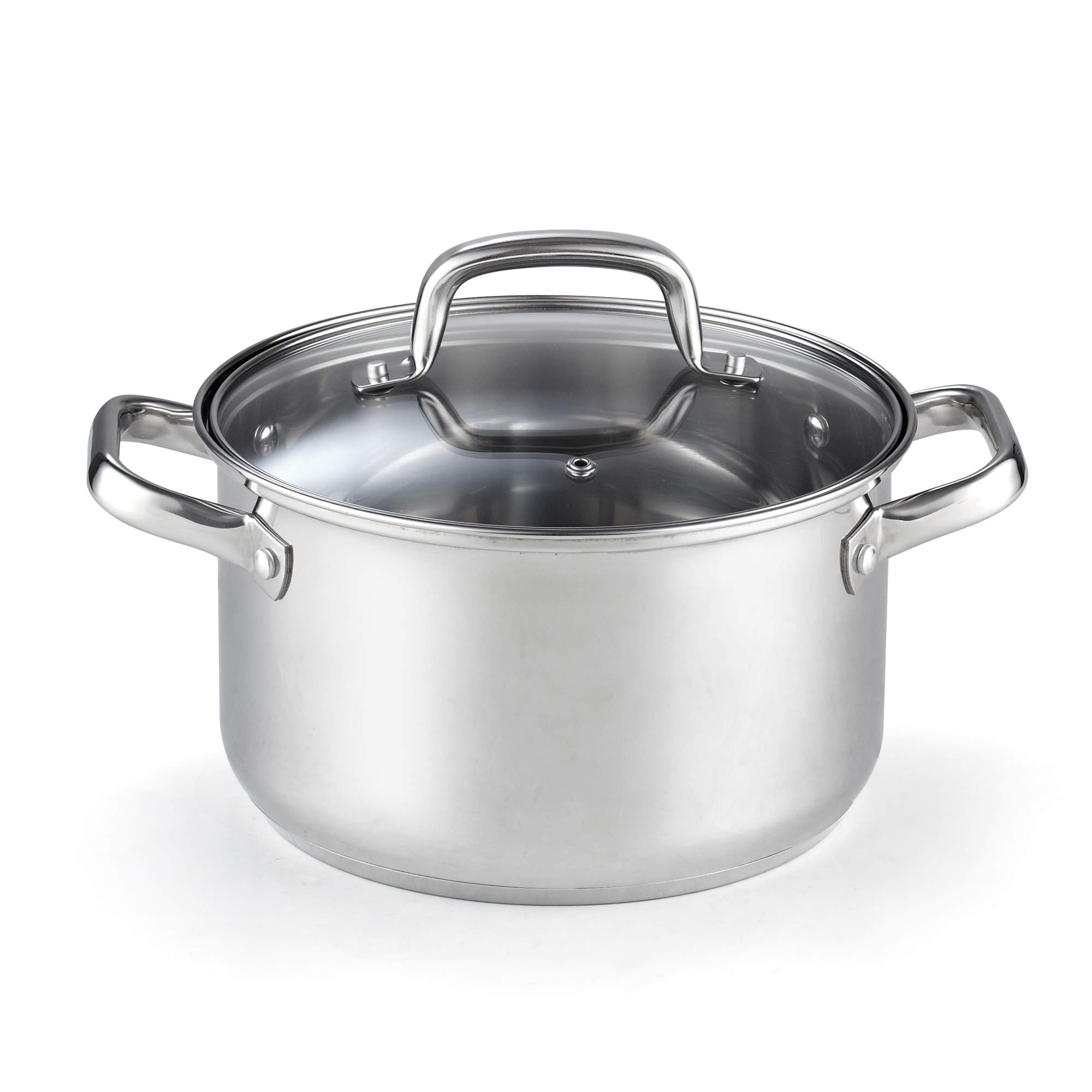 Cook N Home 02609 Lid 5-Quart Stainless Steel Casserole Stockpot Silver