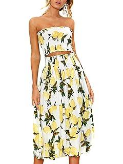 16e9919d64 Women's Floral Lemon Bandeau Crop Top with Maxi Skirt 2 Piece Outfit Set