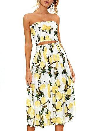 c7b11c47e0 Women's Lemon Crop Top Maxi Skirt Set-Bandesu Top High Waist Midi Skirt 2  Piece