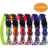 """6 PCS Safety Reflective Cat Collar Breakaway Cats Collars with Bell, Adjustable 8-10"""""""