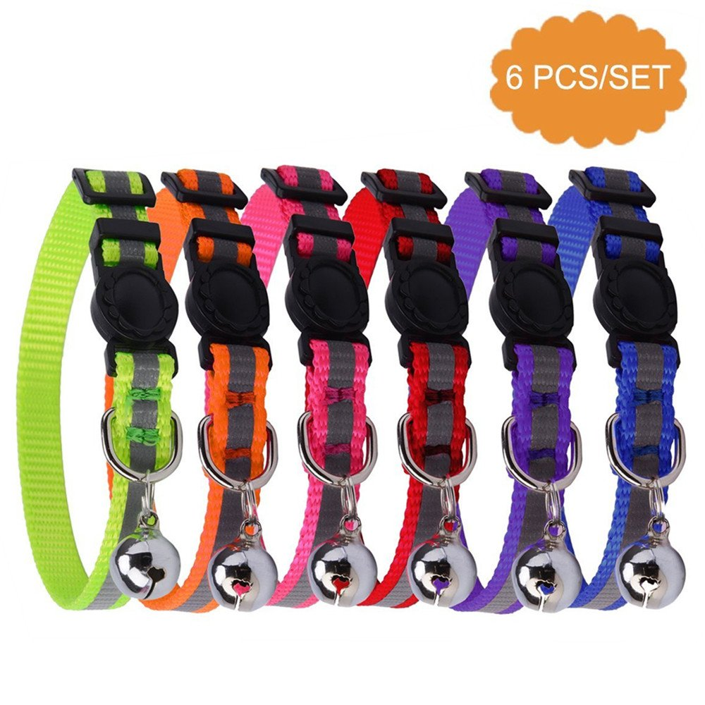 KOOLTAIL 6 PCS Safety Reflective Cat Collar Breakaway Cats Collars with Bell, Adjustable 8-10''