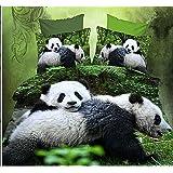 Double Pandas 4Pcs Print Duvet Cover Polyester Comforter Queen Size Bedding Set