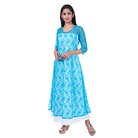 47a23c6cc0f Mamosa Blue Lace and White Rayon 3 4th Sleeve Maxi dress for Women for  party wear ...