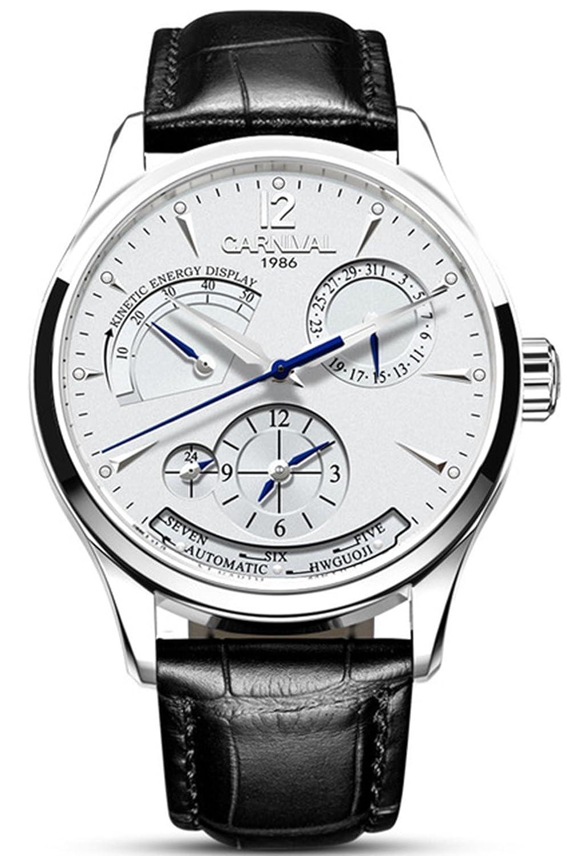 メンズ腕時計複数の時間ゾーンAutomatic Mechanical Watches CalfskinレザーバンドWatch for Men ホワイト B077PNG1PR ホワイト ホワイト