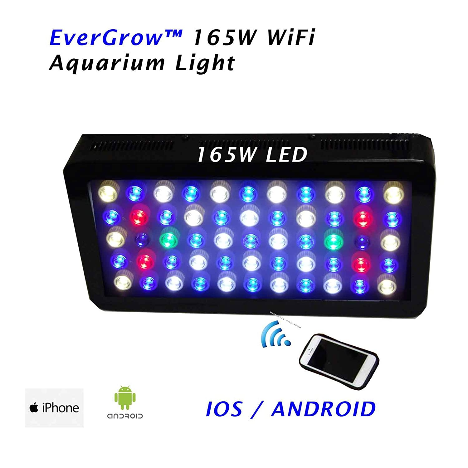 EVERGROW 100% programmable 165 Watt Aquarium Coral Reef LED Grow Light , 55x3 Watt Dimmable full spectrum with WIFI controller for iphone, android phone + FREE hanging kit - One Year Warranty
