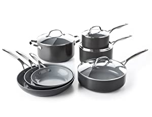 GreenPan CC000675-001 Valencia Pro Hard Anodized 100% Toxin-Free Healthy Ceramic Nonstick Metal Utensil Dishwasher/Oven Safe Cookware Set, 11-Piece Grey