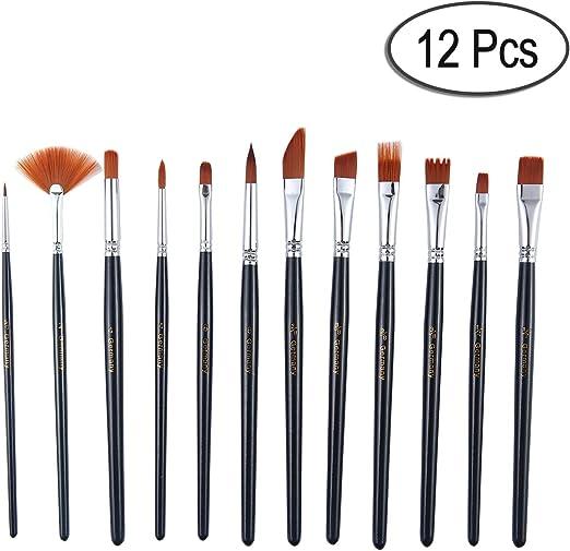 12Pcs Art Painting Brushes Set Acrylic Oil Watercolor Artist Paint Brush Tools