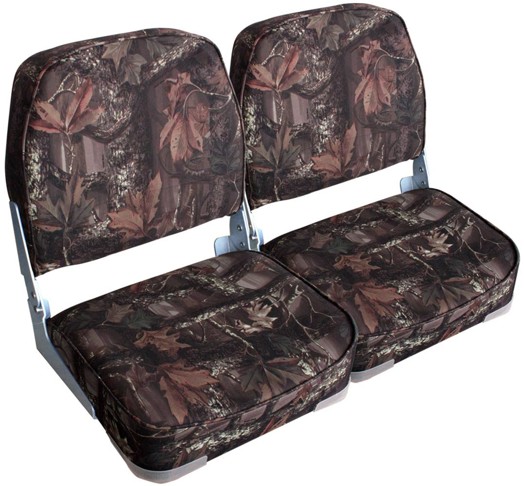 Leader Accessories A Pair of New Low Back Folding Boat Seats(2 Seats) (Camo/Gray Hinge) by Leader Accessories