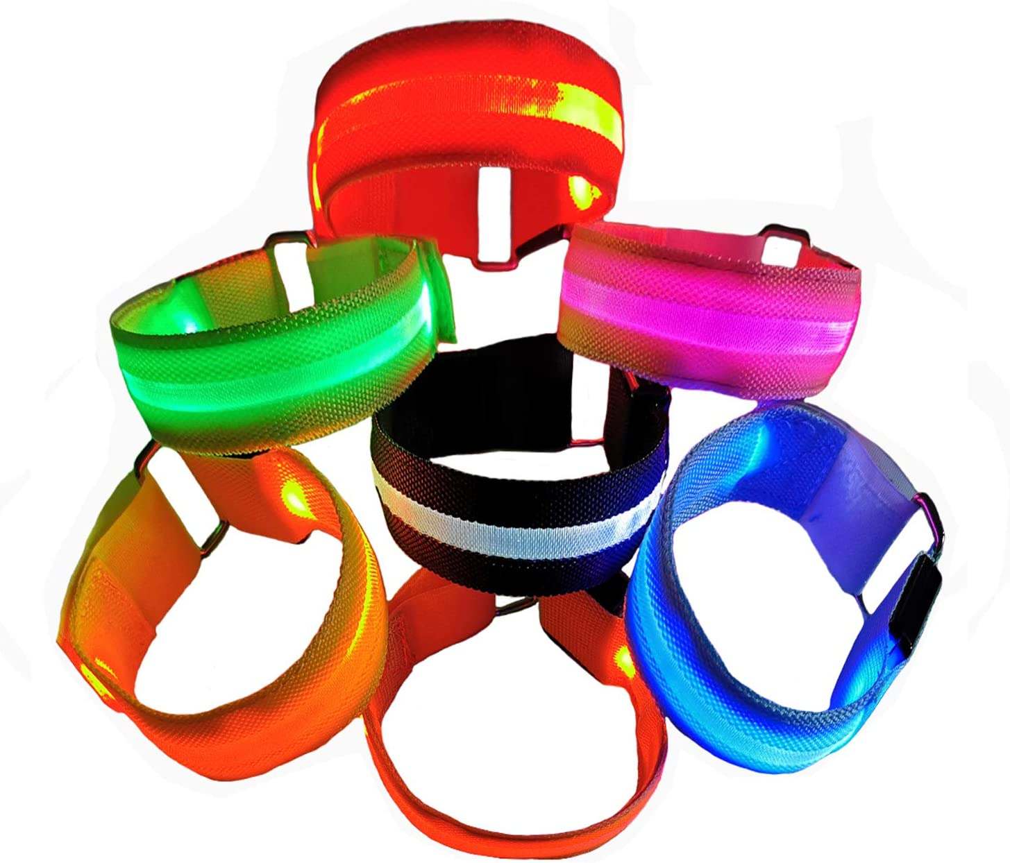 Hikers Glow in The Dark Led Slap Bracelets for Boys/& Girls Joggers Clan-x LED Armband for Running Light Up Sports Safety Event Wristband for Runners Cyclists