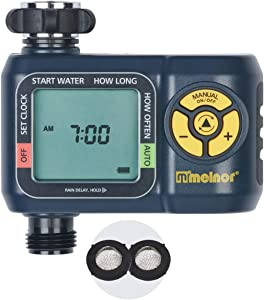 Melnor 65034-AMZ AquaTimer Digital Water Timer with 2 Stainless Steel Filter Washers Set, 1 Zone