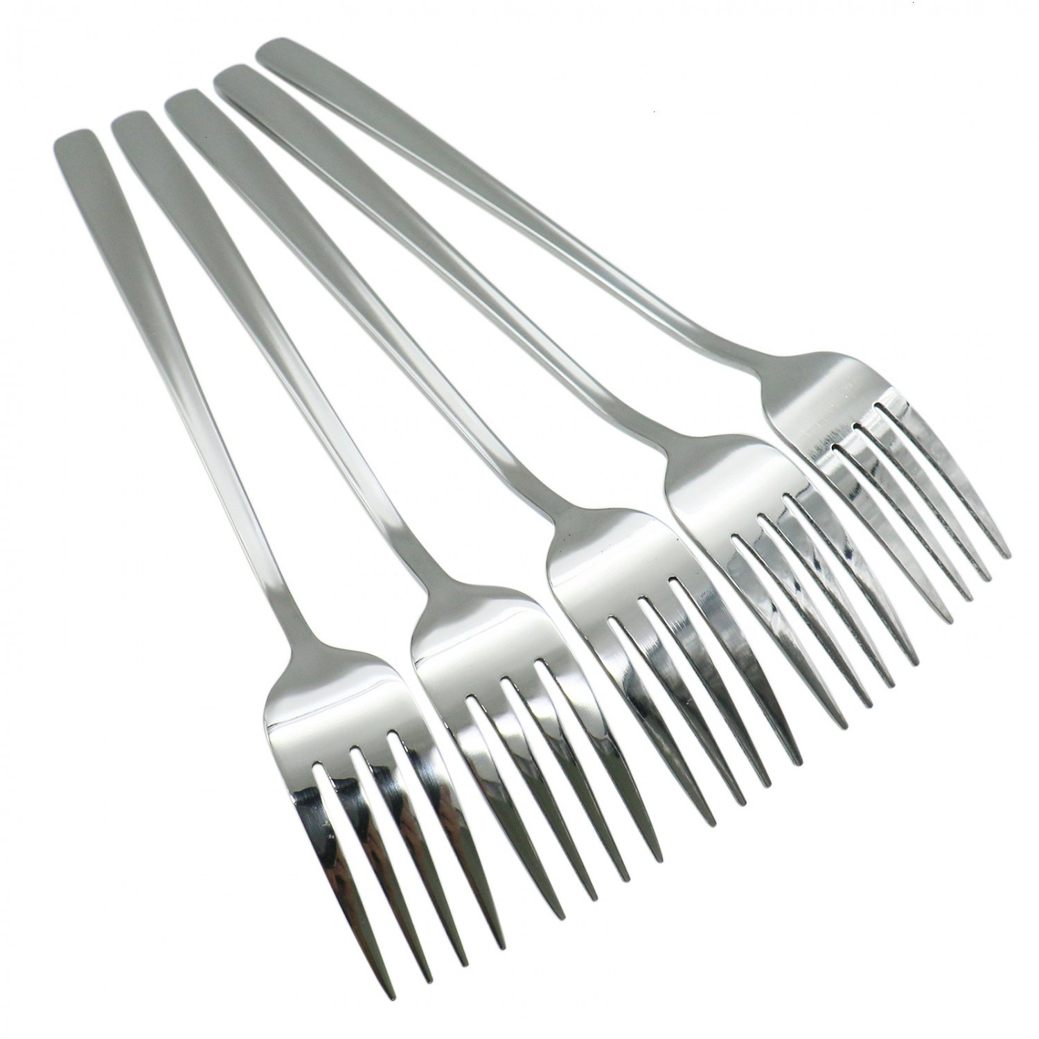 HUELE Set of 5 Korean Stainless Steel Table Forks Dinner Fork Set Long-handled Great Circle Forks