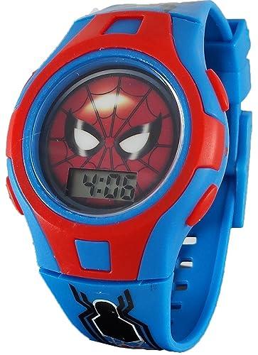 Spiderman Kid s Digital luz azul hasta reloj smh4017