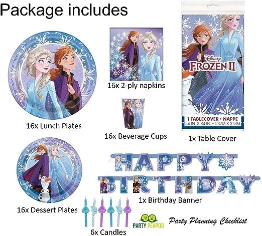 Amazon.com: Frozen 2 suministros para fiesta de cumpleaños ...