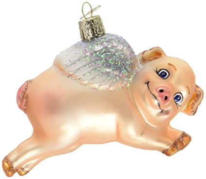 Amazon.com: Old World Christmas Flying Pig Glass Blown Ornament ...