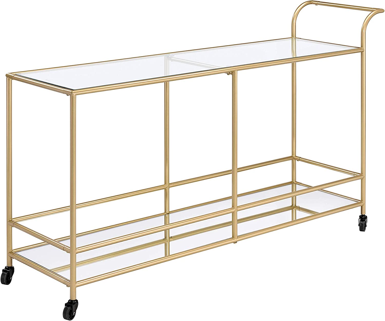 ACME Furniture Kenda Serving Cart, Clear Glass, Mirrored & Gold
