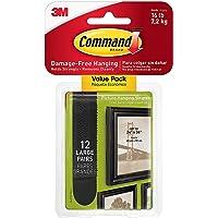 Command Plakstrips, groot, wit, 24 stuks 12 sets zwart