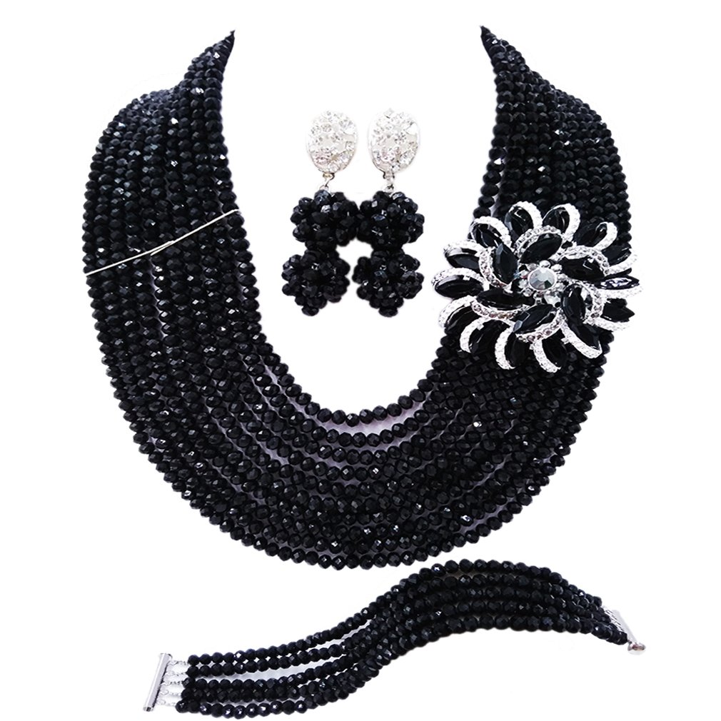 laanc 10 Rows Fashion Costume African Beads Jewelry Set Nigerian Wedding Bridal Jewelry Sets for Women (Black 2)