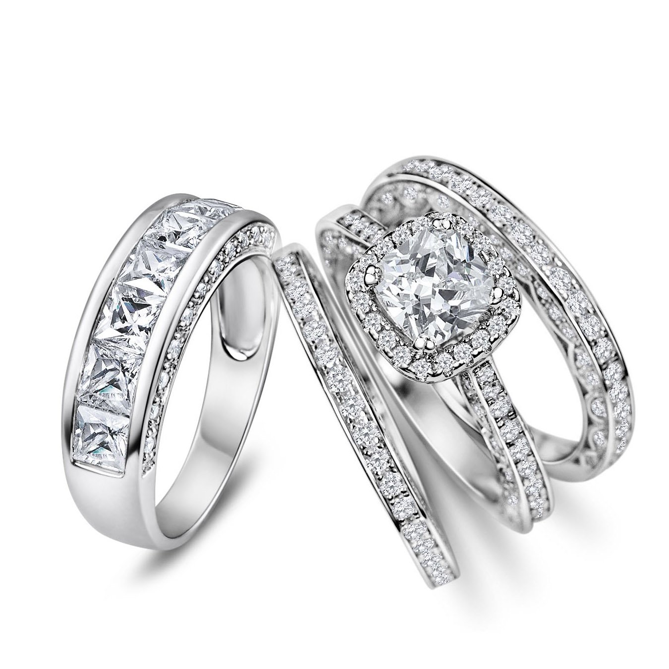 His Hers 4pc Matching Halo Cushion Cut Cz Bridal Engagement Wedding Ring Set 925 Sterling Silver Size 5-13 (Her 9 His 10)