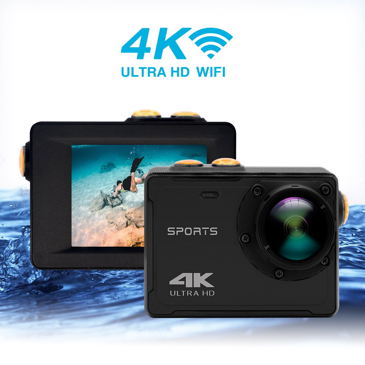 Action Camera Vmotal Action Cam 16MP 4K WiFi Waterproof Sports Camera 150° Ultra Wide-Angle Len Waterproof Underwater Camcorder(No Housing Needed,Black)