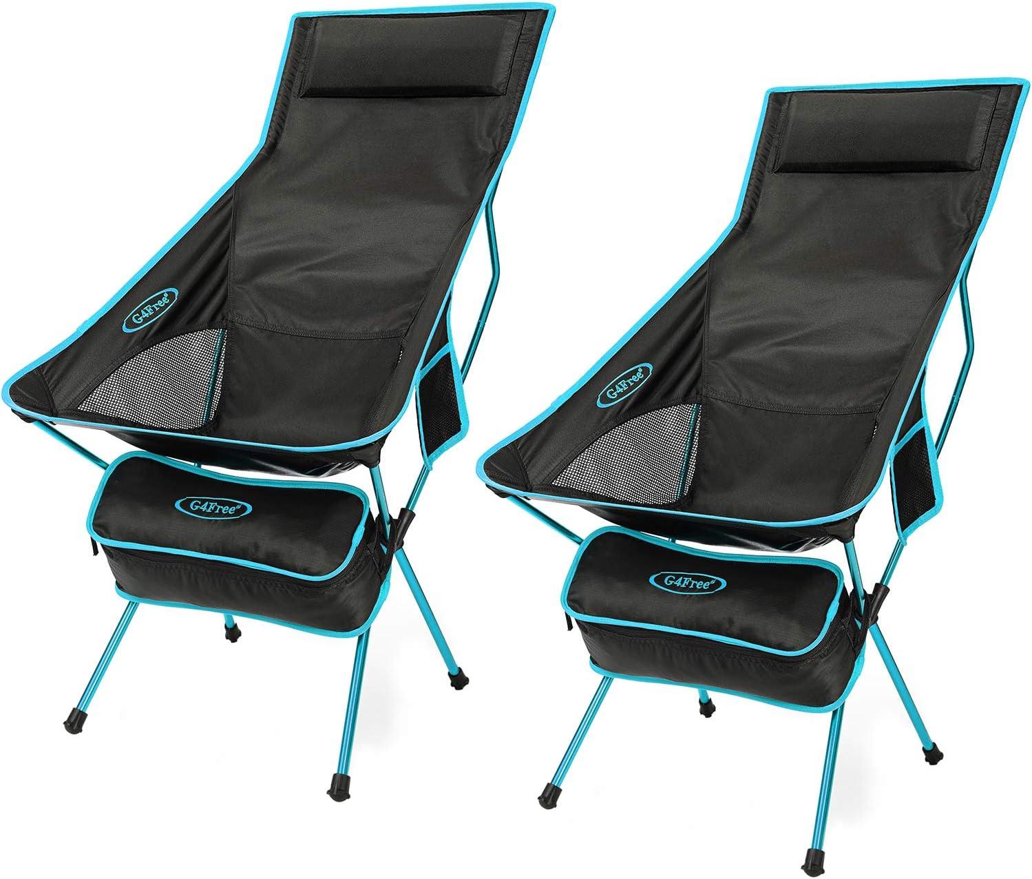 G4Free Silla de Camping Ligera Sillas de Salón de Campamento de Respaldo Alto Plegables al Aire Libre con Reposacabezas para Picnic Playa Senderismo ...