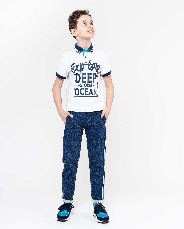 GULLIVER Polo Shirt Kinder Jungs Jungen Hemd Weiss Blau Marine mit Patch Kurzarm 8-13 Jahre 134-164 cm