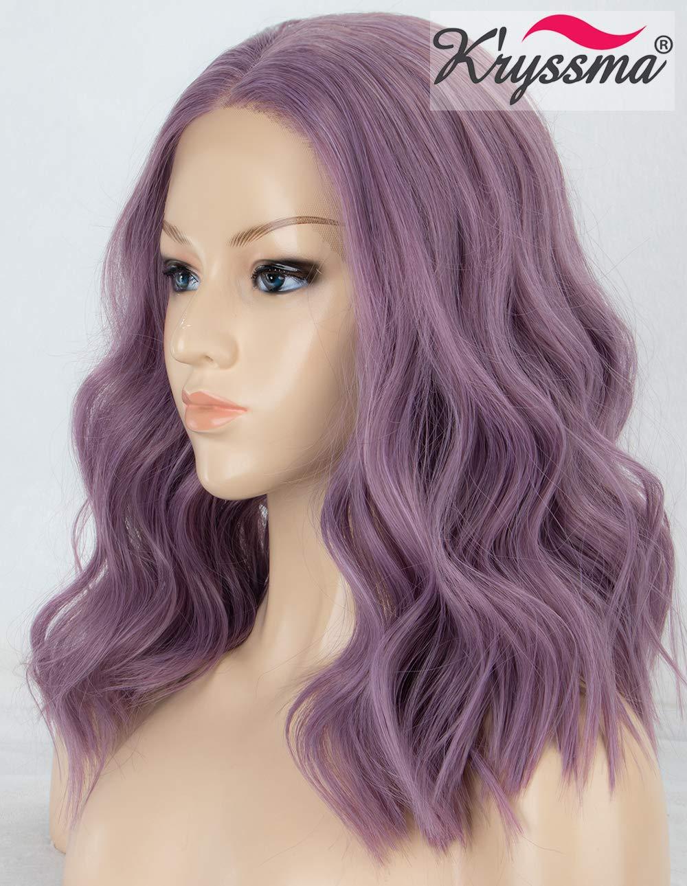 K'ryssma Ash Purple Lace Front Bob Wig Middle