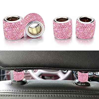 Bling Car Decor Headrest Collars,Jewelry for Your Car,Diamond Crystal Car Seat Headrest Interior Decoration Charms (Pink)