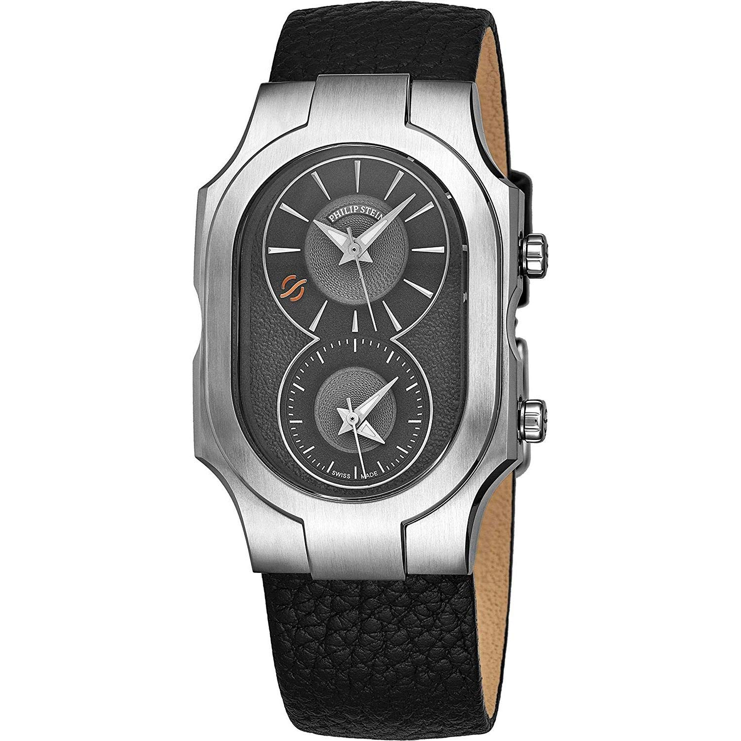 Philip Stein Signature Swiss Made Dual Time Zone Watch – Natural Frequency Technology Provides More Energy and Better Sleep – Analog Grey Face with Luminous Hands Black Leather Band Quartz Watch