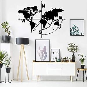 Metal Wall Art, Metal World Map Compass, Metal Wall Decor, Metal Sign, Metal World Map Wall Art