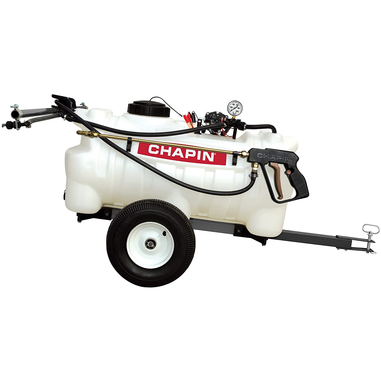 Chapin International 97700N EZ Dripless Tow Behind Sprayer, 25 gallons Translucent White