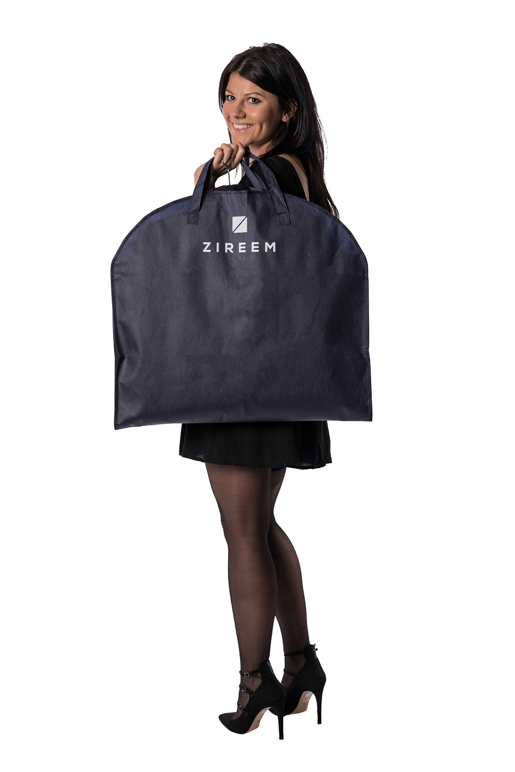 3x Kleidersack von Zireem | inkl. kostenlosem Schuhbeutel & Textilbürste | Premium Stabiler Kleidertasche | Kleiderhülle | Atmungsaktiv | hochwertiger Anzugsack | tiefblau | 110 × 60 cm |