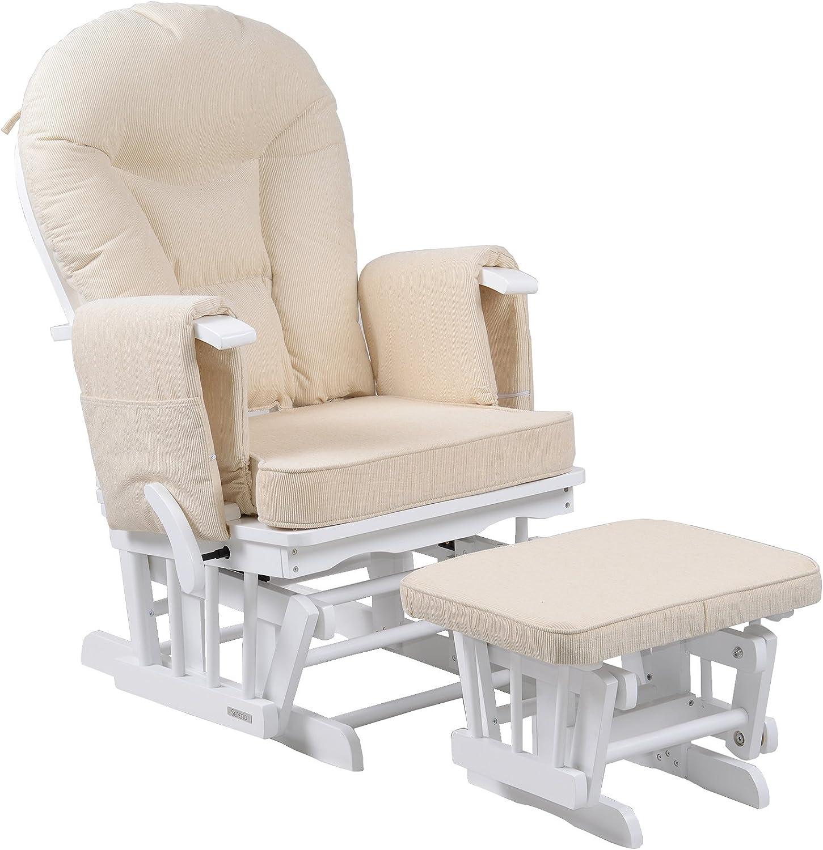 Sereno Chaise ber/çante pour soins maternels avec pouf Bois naturel