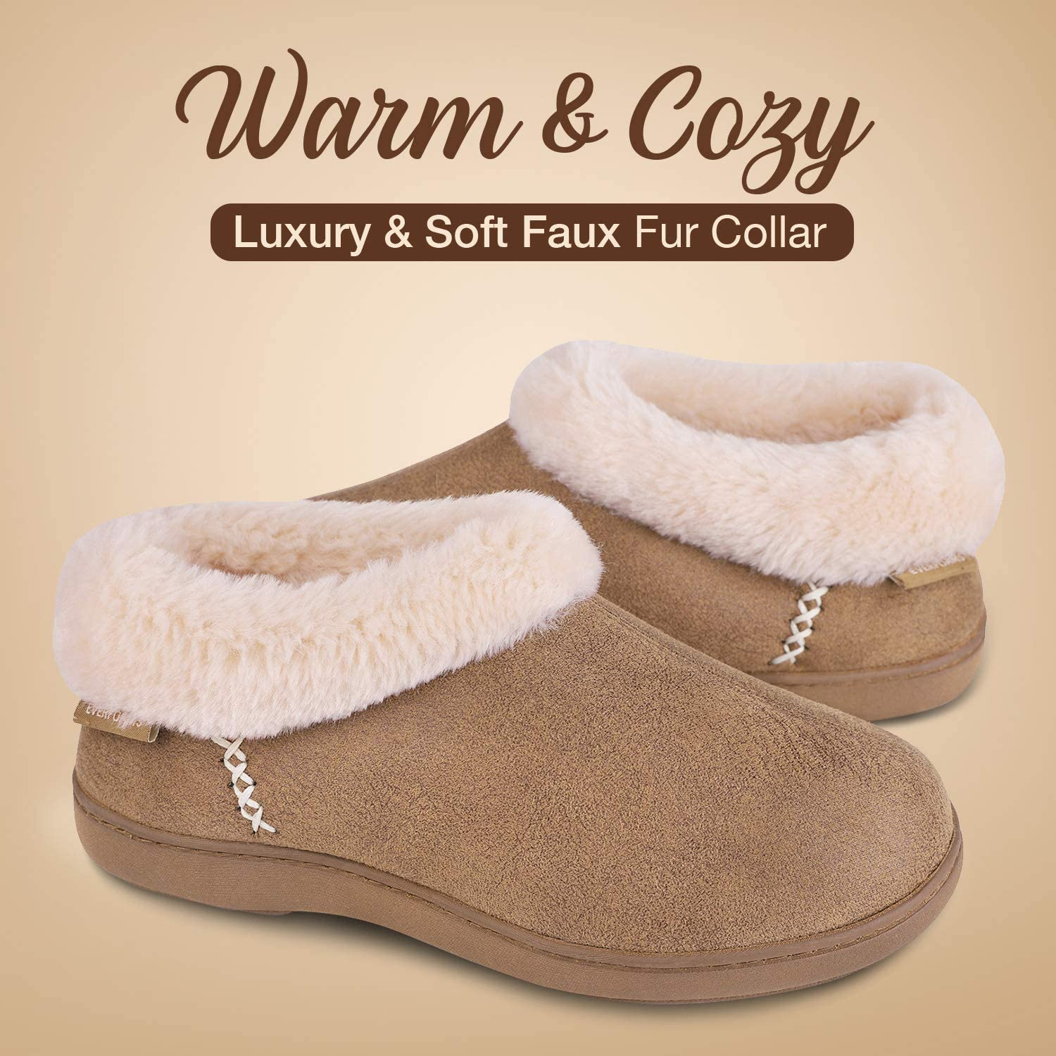 EverFoams Ladies Suede Fuzzy Plush Lined Slippers with Cozy Memory Foam