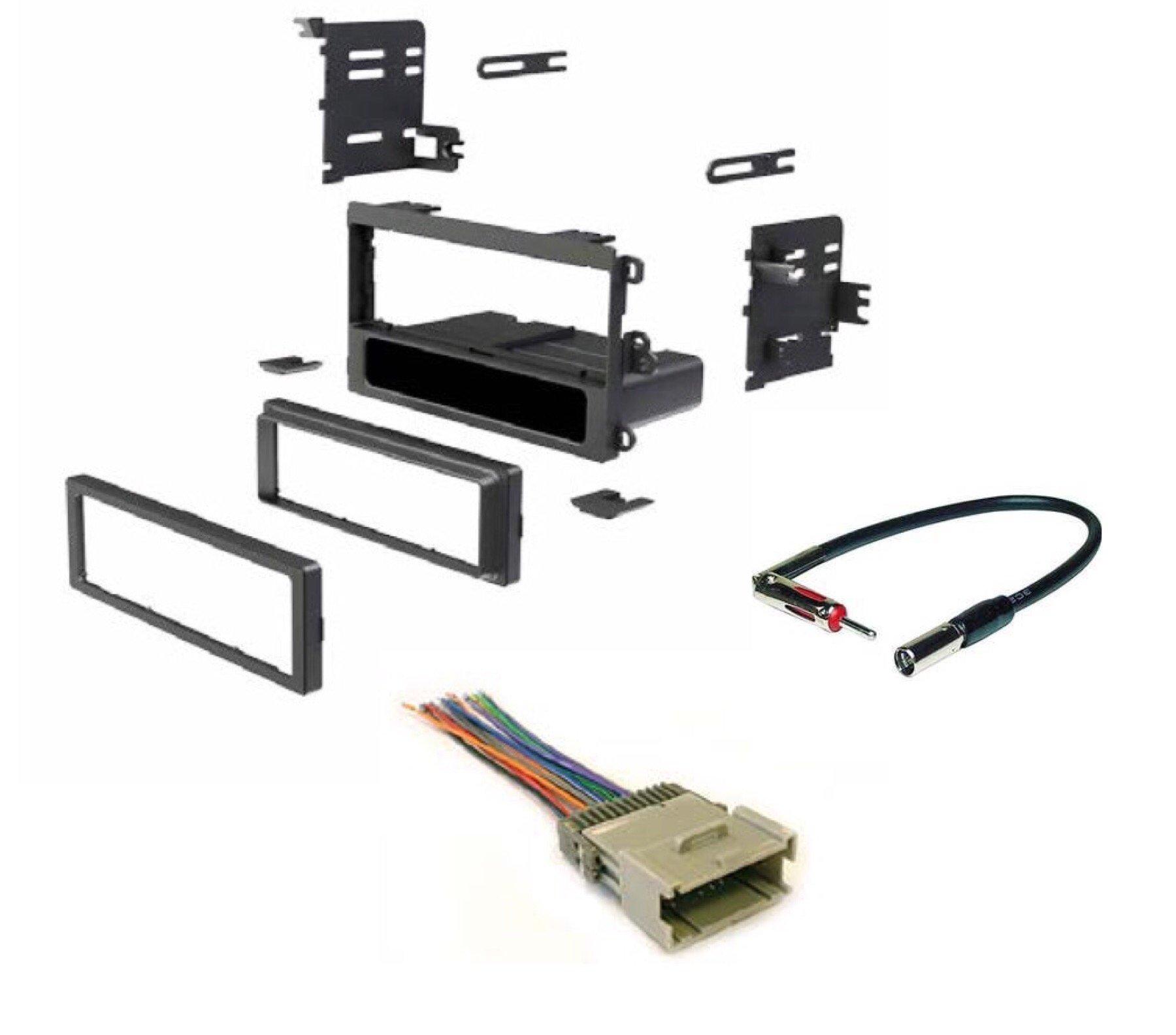 ASC Single Din Car Radio Dash kit, Wire Harness, and Antenna Adapter for Chevrolet: 03-05 Blazer/S10, 01-02 Express, 00-01 Metro, 98-04 Tracker; GMC : 01-02 Savana, 03-04 Sonoma; 99-04 Suzuki Vitara