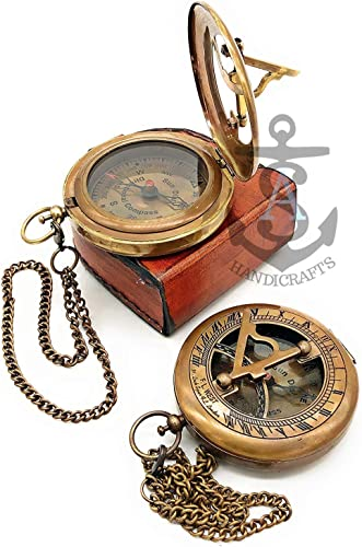 Antique Steampunk BRASS–SUNDIAL-COMPASS Sundial Watch with Leather case Sundial