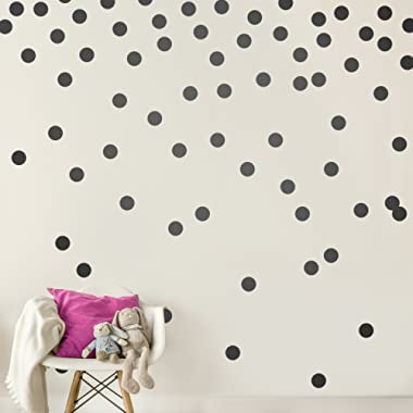 Black Wall Decal Dots (200 Decals)   Easy Peel & Stick + Safe on Walls Paint   Removable Matte Vinyl Polka Dot Decor   Round Circle Art Glitter Sayings Sticker Large Paper Sheet Set for Nursery Room